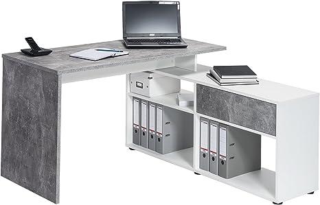 Maja Mobel Schreib Und Computertisch Holzdekor Betonoptik Icy Weiss 137 00 X 130 00 X 74 20 Cm Amazon De Kuche Haushalt