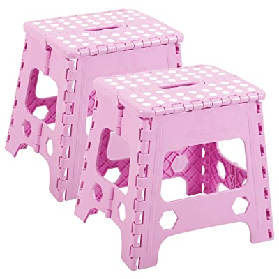 REDCAMP 2-Pack Folding Step Stools for Adults and Kids, 12 Inch High Heavy Duty Collapsible Plastic Step Stool with Handle, Pink: Kitchen & Dining