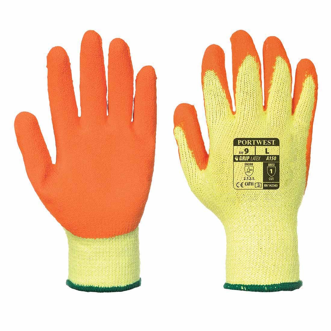12 PAIRS PORTWES LATEX WORK GLOVES A150 S-XXL BLACK ORANGE GREEN (Medium, orange) Portwest