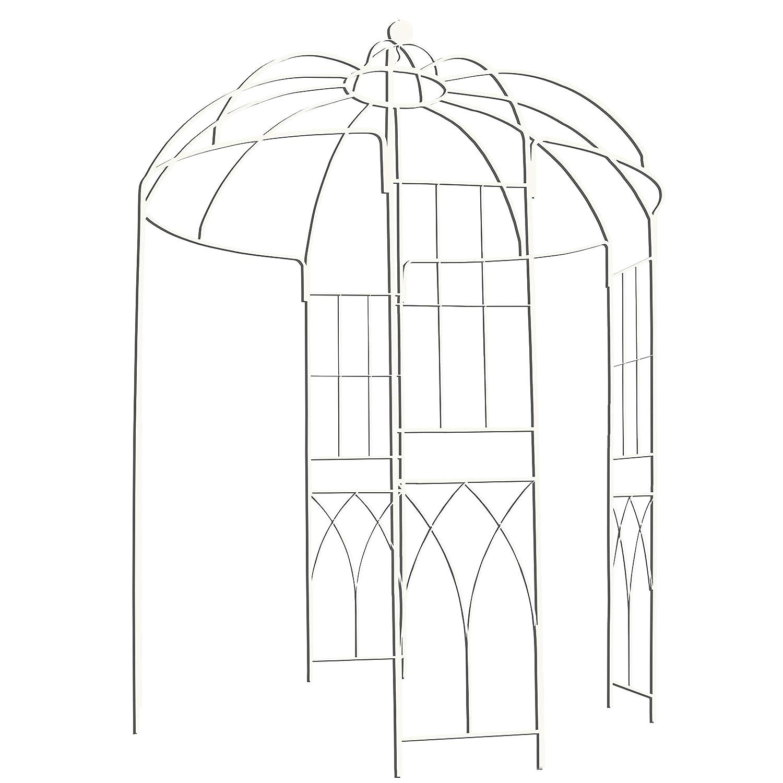 Outour Rankengewächsgestell/Pavillon im französischen Stil mit 4 Seiten, aus Metall, für Hinterhof, Garten, Terrasse, Hochzeiten, Rankengewächse, Rosen, Blumen, weiß für Hinterhof Rankengewächse weiß