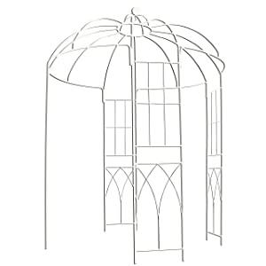 """OUTOUR French Style Birdcage Shape Heavy Duty Gazebo, 9' Highx 6'6"""" Wide, Pergola Pavilion Arch Arbor Arbour Plants Stand Rack for Wedding Outdoor Garden Lawn Backyard Patio,Climbing Vines,Roses,White"""