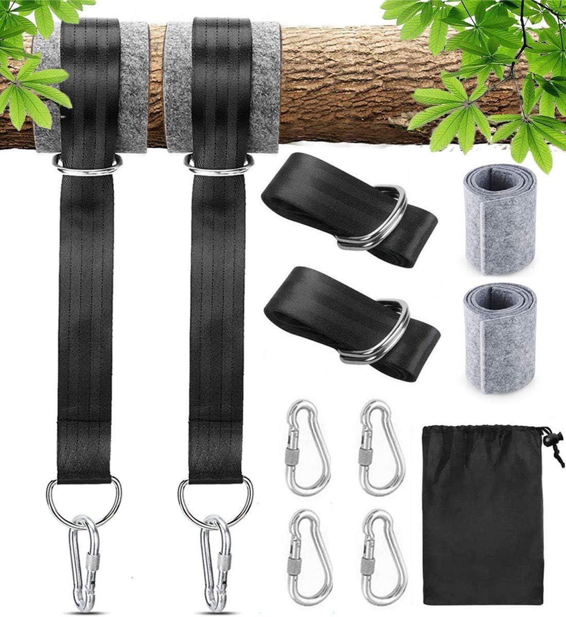 Arespark Correas de Hamacas, Columpio de Árboles para Exteriores de 1.5M, Suspensión de Hamaca Colgar al árbol con 4 Mosquetones (Máx. 600 kg)