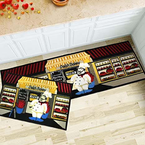 Amazon Com Maxyoyo 2 Pieces Fat Chefs Kitchen Floor Mats Runner Rug