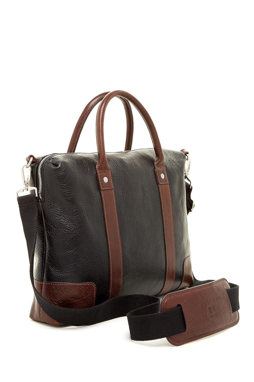 Trafalgar Pebbled Leather Slim Laptop Brief Bag with Shoulder Strap Black//toffee