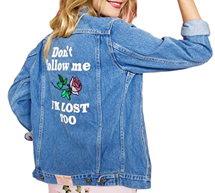 Keaac Womens Pocket Letters Rose Embroidered Denim Jacket Outcoat At