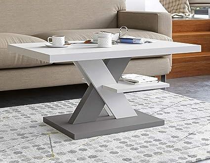 Tavolino Da Salotto Bianco E Grigio Tavolini Da Salotto Moderni Con Un Ripiano Tavolino Soggiorno Elegante Complemento Di Qualsiasi Soggiorno 90x60x45cm Amazon It Casa E Cucina