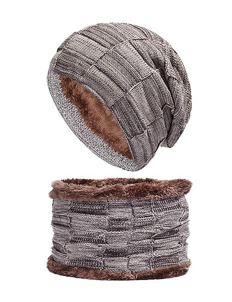 BESBOMIG Caldo Inverno Termico Maglia Cappello e Sciarpa Imposta Addensare Sciare  Cappello - Grande per in 74ce1fd05b50