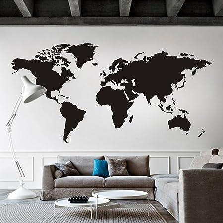 Mapa Mundial Vinilo Vinilo Vinilo Mapa Decoración de pared Mapa Mapa Mundial Adhesivo de pared Decoración de la Sala Arte Negro: Amazon.es: Bricolaje y herramientas