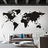 WallsUp Adesivo da Parete con Cartina del Mondo, in Vinile, per uffici, Vinile, Nero, 50 hx100 w