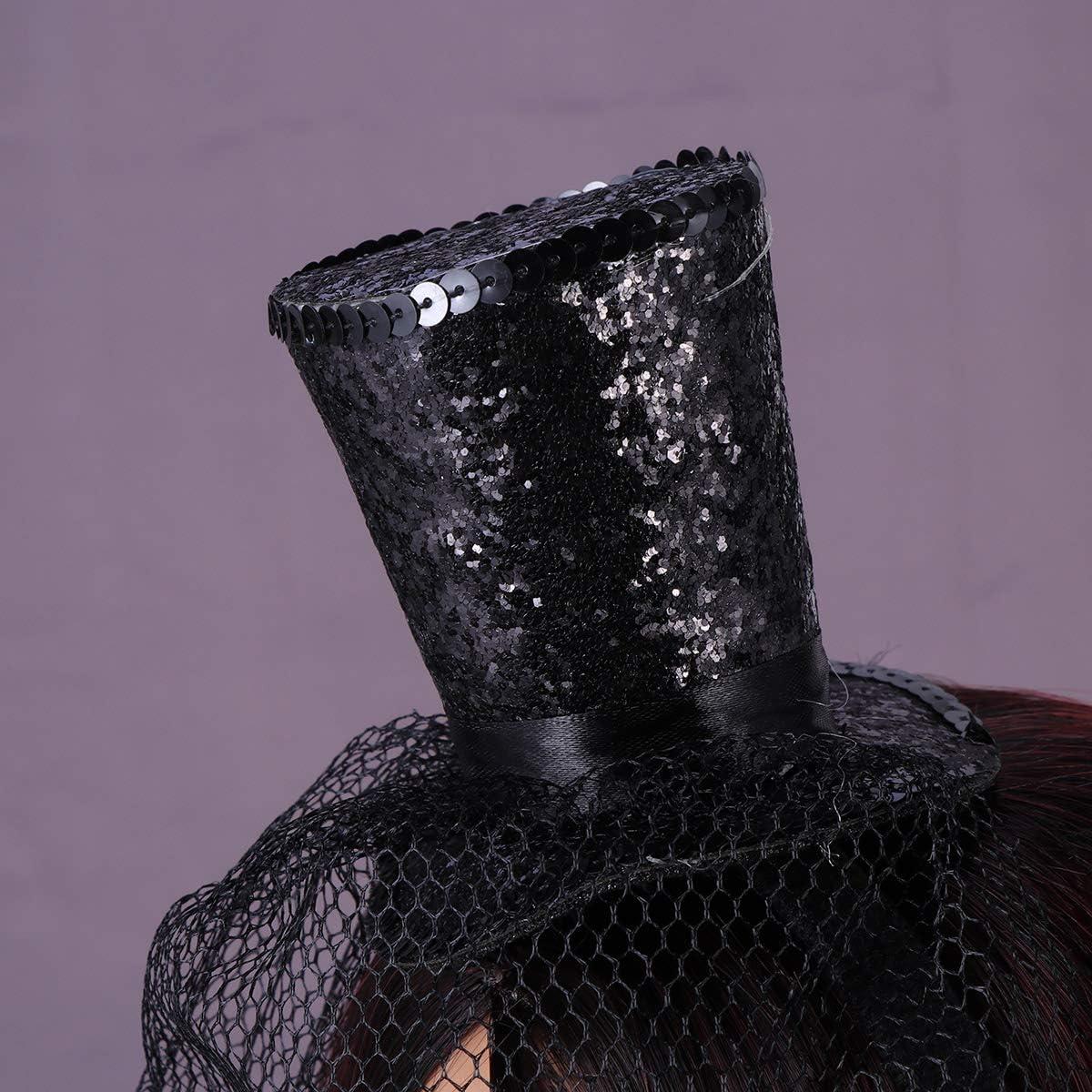 Rojo Negro Amosfun 2pcs Mini Sombrero de Copa con Diadema con Redecilla Desmontable Sombreros para Dama Mujer