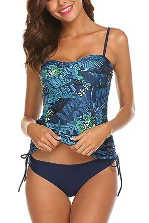AYEABUY Frauen Plus Size Floral Halfter Tankini Set mit Boyshort Zweiteiligen  Badeanzug (EU (36 3d8caeeac2