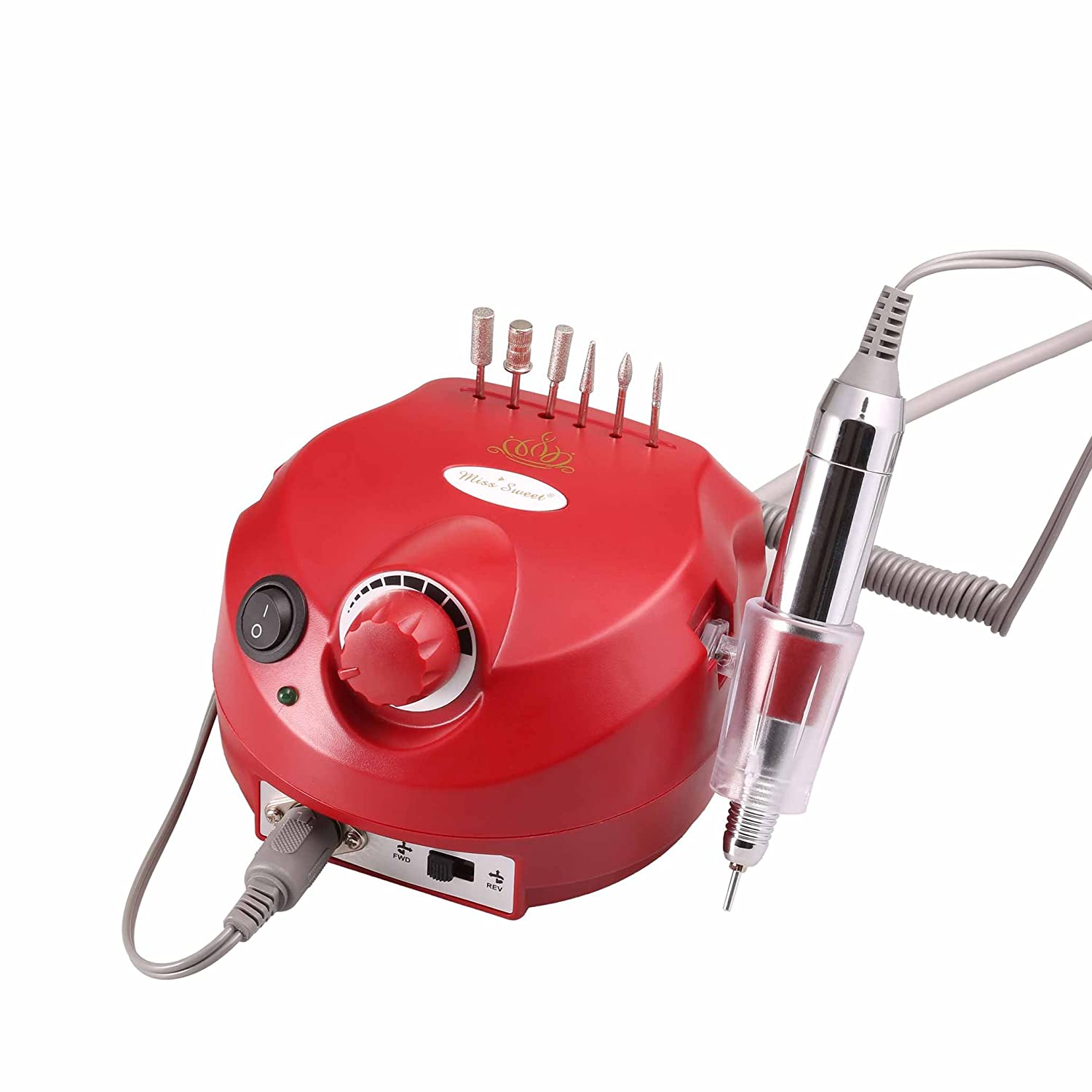 Miss Sweet Professional Electric Nail Drill for Acrylic Nails 30000RPM (Red)