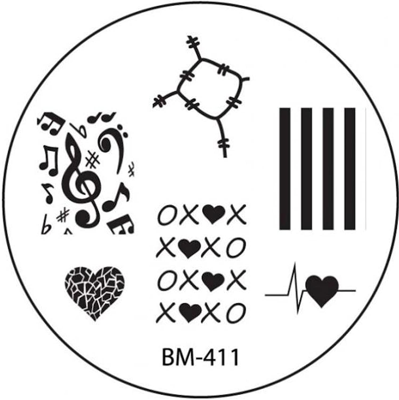 STAMPING-SCHABLONE # BM-411 (BM411) °°Stoffflicken, Herz, Liebe, XOXOXO, Musik, Musiknoten, Notenschlüssel°° Stamping-Schablonen