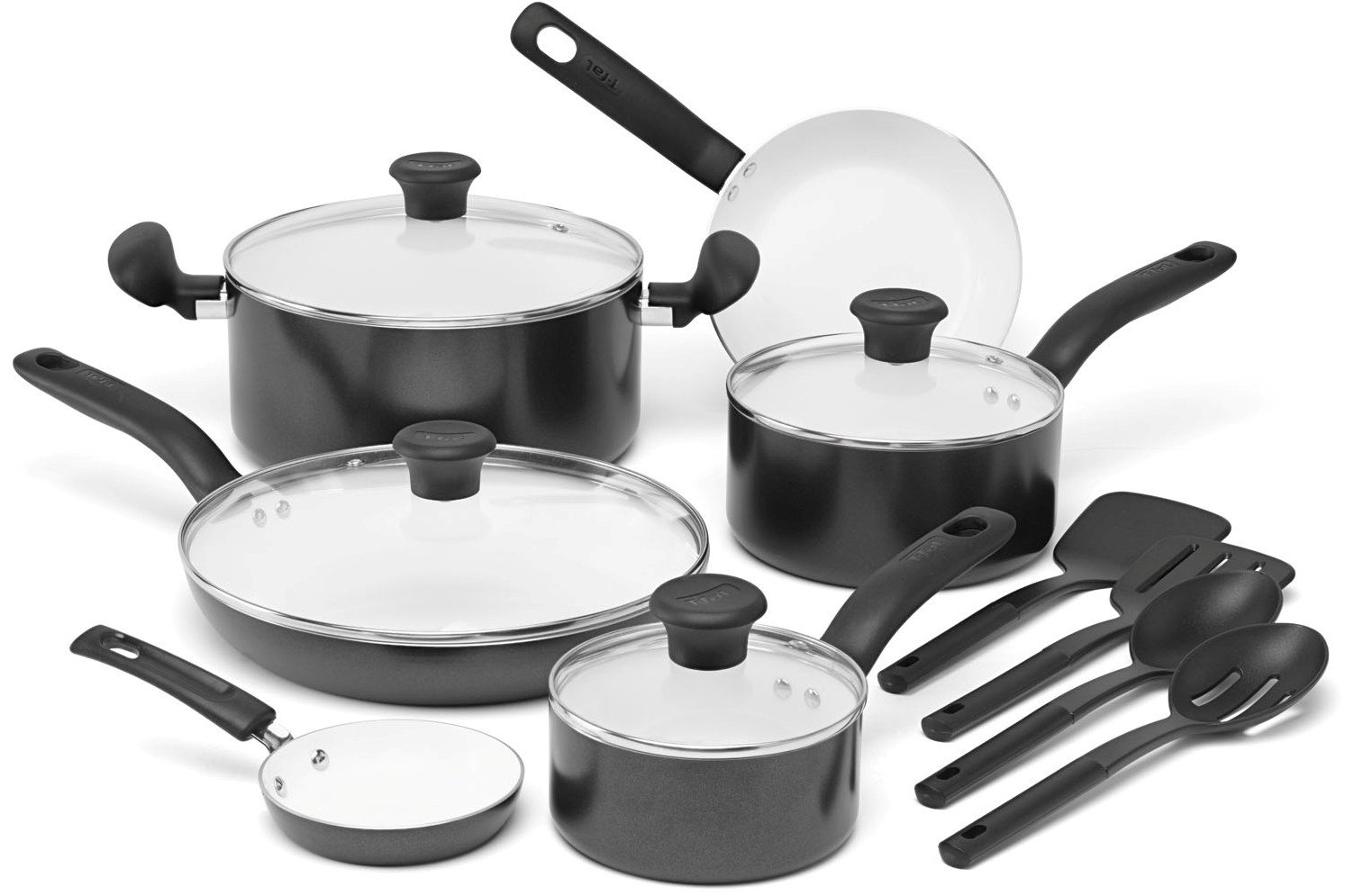 T-fal C921SE Initiatives Nonstick Ceramic Coating PTFE PFOA and Cadmium Free Scratch Resistant Dishwasher Safe Oven Safe Cookware Set, 14-Piece, Black