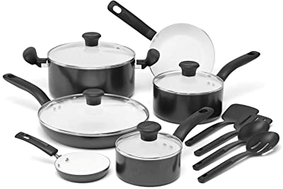 T-fal C996SE Initiatives Nonstick Ceramic Coating PTFE PFOA and Cadmium Free Scratch Resistant Dishwasher Safe Oven Safe Cookware Set