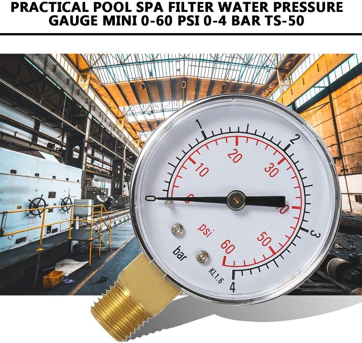 Práctico Piscina SPA Filtro Manómetro de Agua Mini 0-60 PSI 0-4 Bar Montaje Lateral Rosca de tubería de 1/4 Pulgada NPT TS-50(Negro)