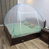 Healthgenie Foldable Mosquito Net for Double Bed (King Size) with Patches - Blue