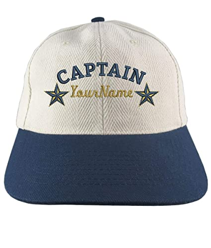 a5337850f003a Amazon.com  Personalized Captain Stars Your Name Embroidery Adjustable  Natural Cotton and Navy Structured Low Profile with Option to Personalize  Back  ...