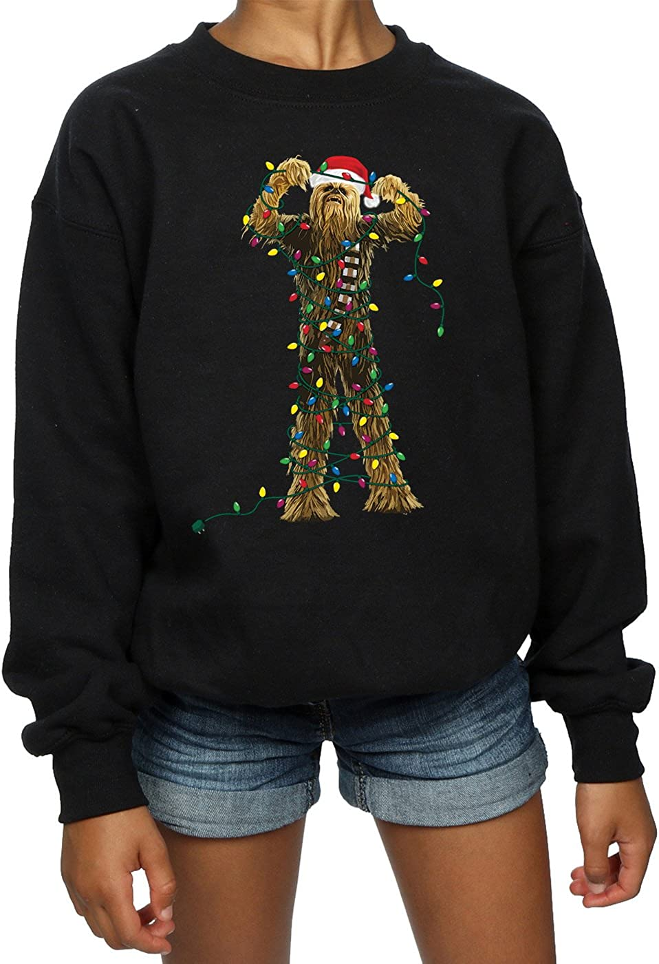 Star Wars Girls Chewbacca Christmas Lights Sweatshirt 9-11 Years Black