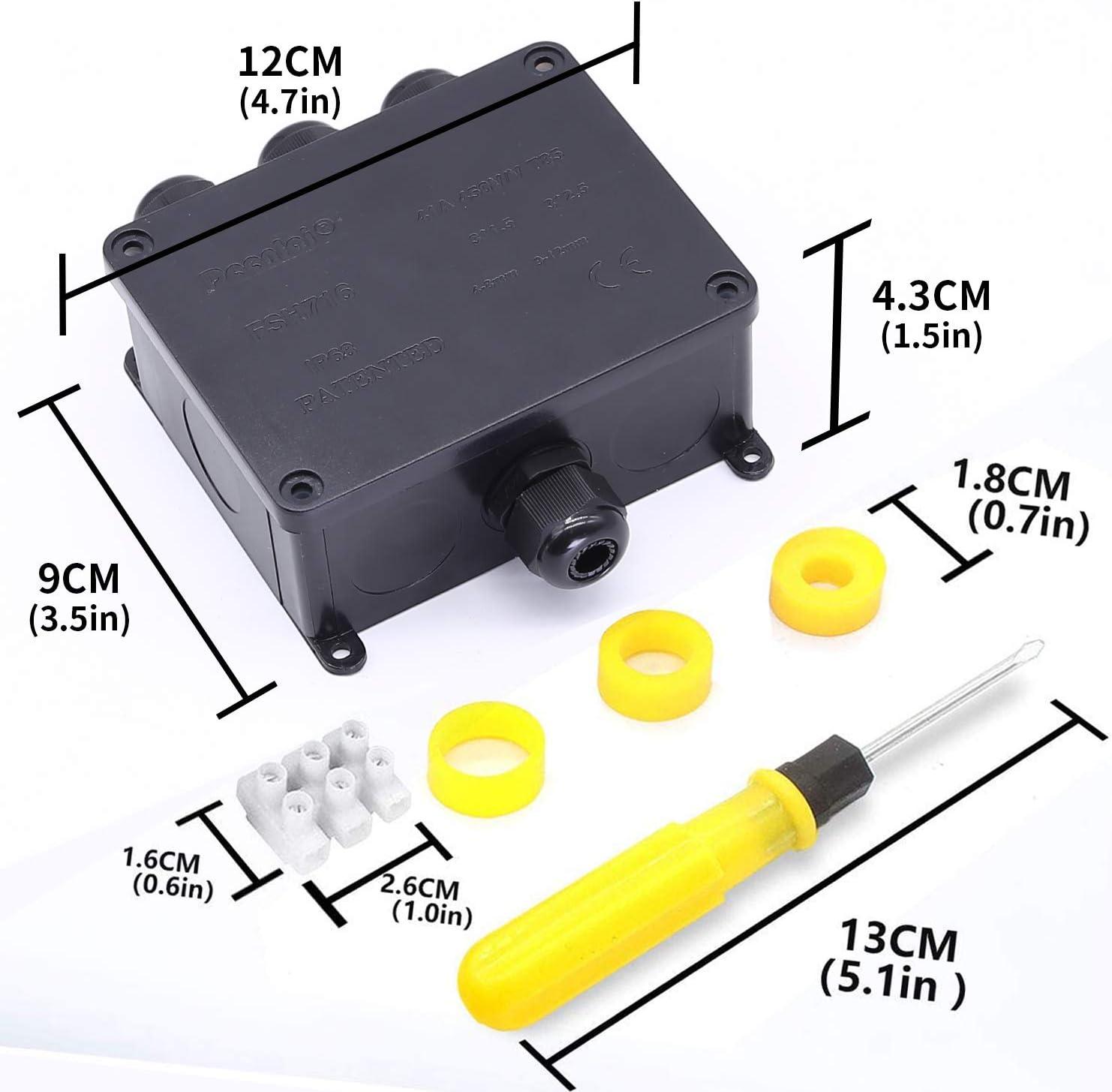 4 way-1pc Tonpop IP68 Waterproof 2 Way Junction Boxes