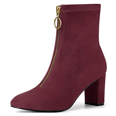 Allegra K Women's Front Zipper Chunky High Heel Ankle Boots | Ankle & Bootie