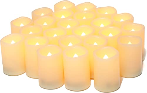 Flameless Flickering Votive Tea Lights Candles Bulk Battery Operated Set of 24 Fake Candles Flickering Tealights LED Candle for Garden Wedding,Party, Christmas Decorations etc Batteries Included