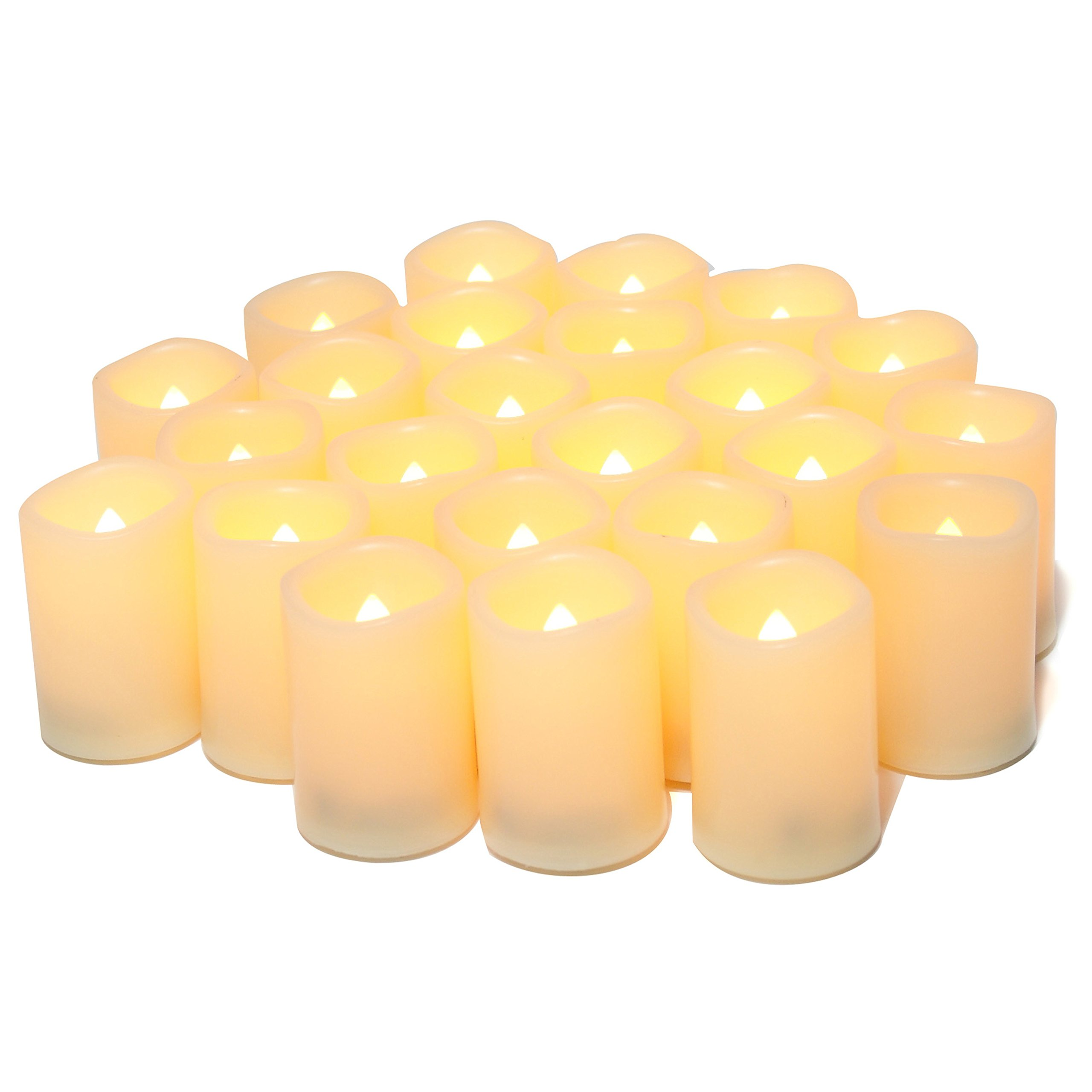 Flameless Flickering Votive Tea Lights Candles Bulk Battery Operated Set of 24 Fake Candles/Flickering Tealights LED Candle for Garden Wedding,Party, Christmas Decorations etc (Batteries Included) by CANDLE IDEA