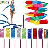 Tinabless Dance Ribbons Streamers(10 Pieces), 6.6Ft Unisex Kids' Gymnastics Ribbon Wands, Rhythmic Gymnastics Ribbon…