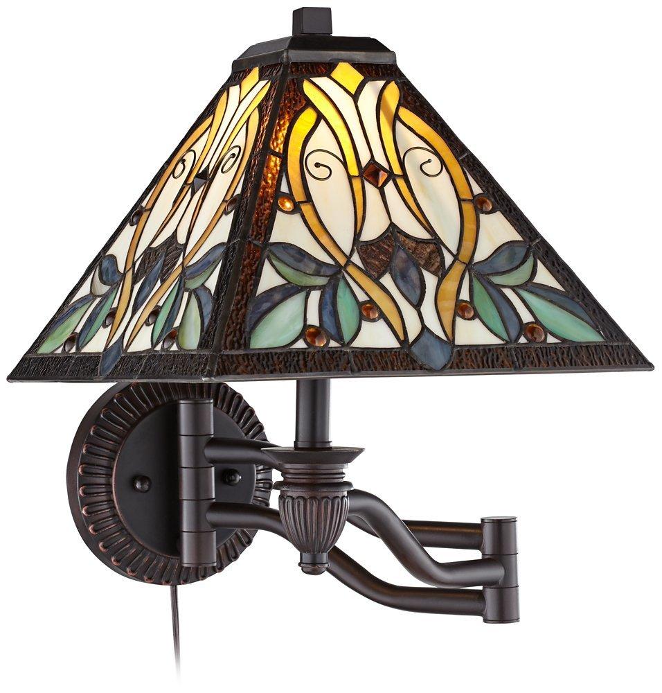 Robert Louis Tiffany Victorian Art Glass Swing Arm Wall Lamp by Robert Louis Tiffany