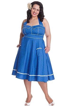 Hell Bunny Vanda Blue Polka Dot Halterneck 50s Dress Plus Size 4xl
