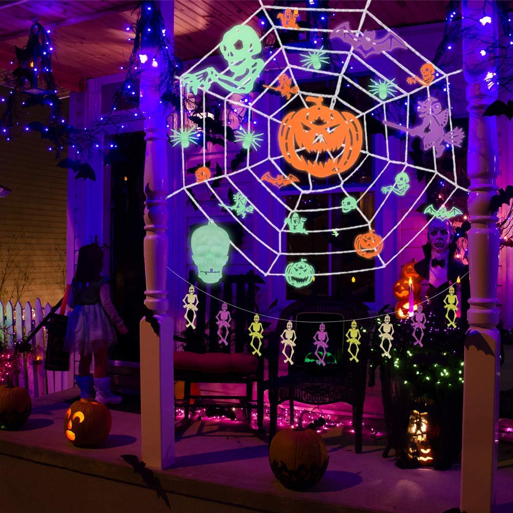 37PCs Halloween Decorations Indoor & Outdoor 9.8x9.8 Feet Spider Web with Glow in the Dark Party Supplies,Halloween Party Favors for Kids, Ceiling and Wall Decals by FUN LITTLE TOYS