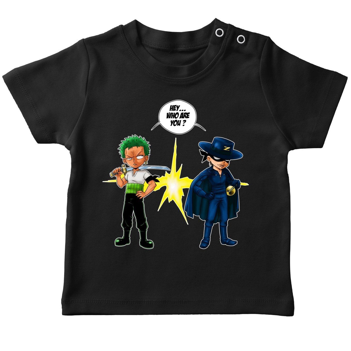 Okiwoki Funny One Piece Black Baby\'s T-Shirt - Roronoa Zoro from Straw Hat Pirates Crew (One Piece Parody) (Ref:729)