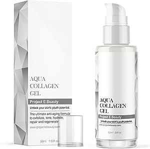 Project E Beauty Aqua Collagen Gel | Brightening Moisture Treatment Ultra Facial Moisture Gel Lightweight Texture and Superior Moisture Balancing Properties provides 24-hour hydration 1.69fl oz/50ml