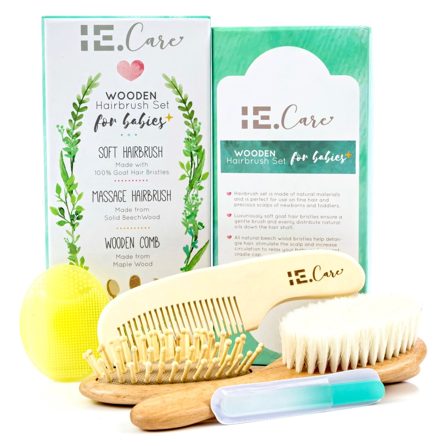 IE.Care Wooden Baby Hair Brush Comb Set for Newborns Toddlers | Soft Goat Bristles Prevent Cradle Cap | Wood Bristles Baby Brush Massage | Perfect Unisex Gender Neutral Baby Shower Baby Registry Gift