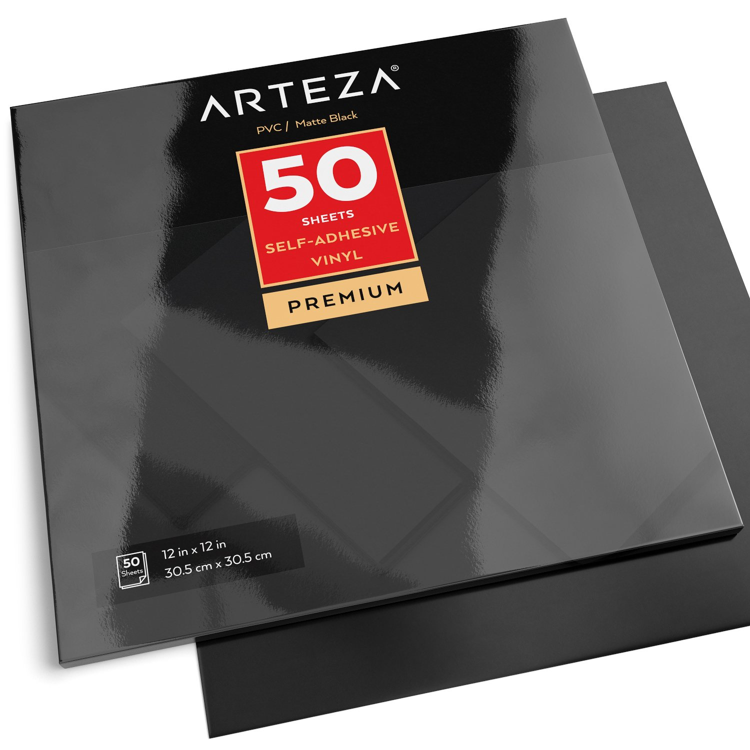"Arteza 12x12"" Glossy Black Self Adhesive Vinyl Other Art Supplies 50 Sheets"