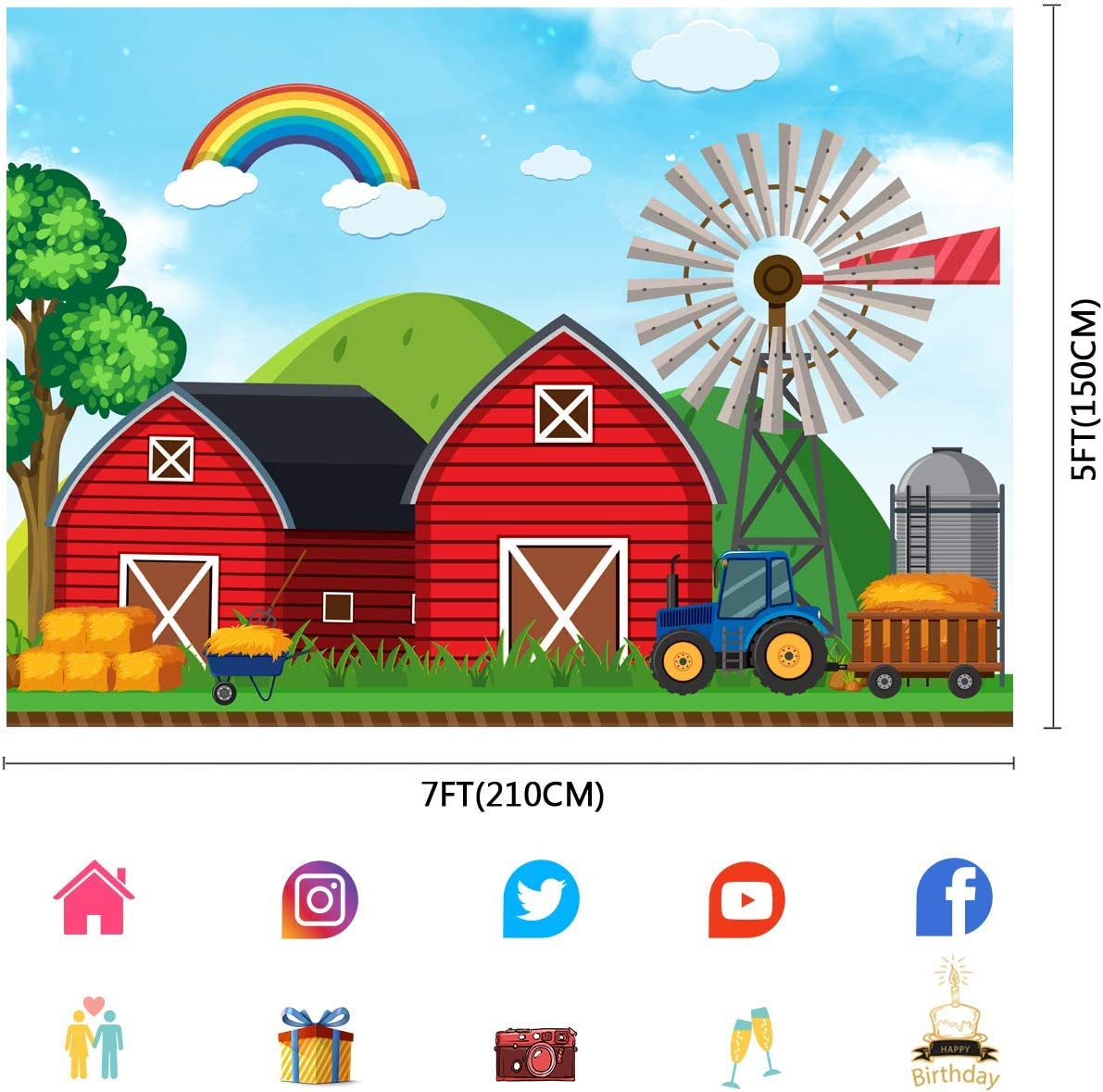 10x8ft Barn Farm Backdrop Cartoon Rainbow Countryside Scene Photography Background Birthday Party Photo Studio Props LLFU042