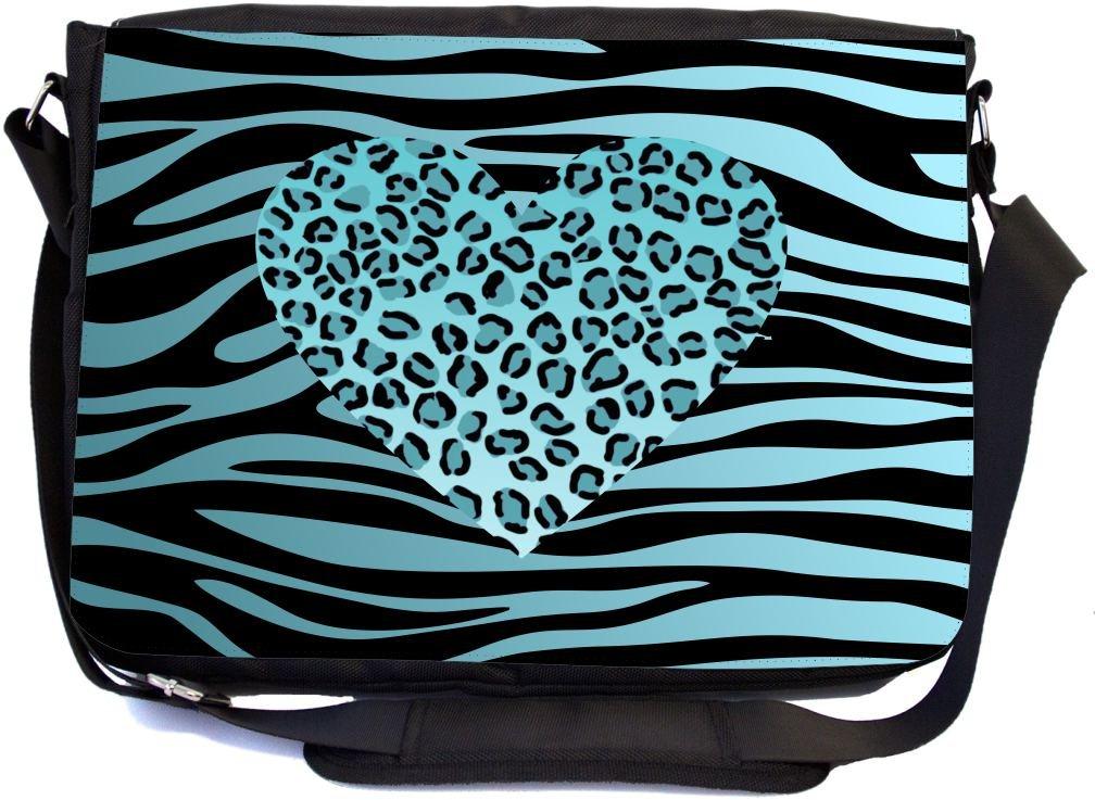 UKBK Sky Blue Leopard Heon zebra background Messenger Laptop Bag with Pencil Case
