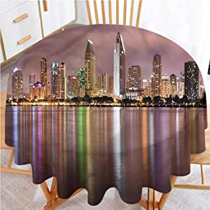 """shirlyhome Round Table Cover USA Polyester Fabric Table Cloth San Diego Riverside Panorama (Diameter 60"""")"""
