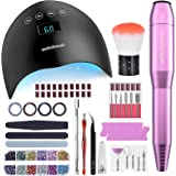 MelodySusie Portable Electric Nail Drill, 48W UV LED Nail Lamp, 3D Nail Art Decoration, All-In-1 Acrylic Compact Efile Electr