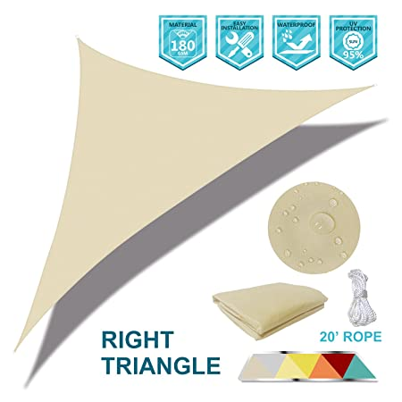 Coarbor Waterproof UV Block 10 x12 x15.6 Right Triangle Beige Sun Shade Sail Canopy Triangle 180 GSM Polyester for Pergola Carport Awning Patio Yard- Customized