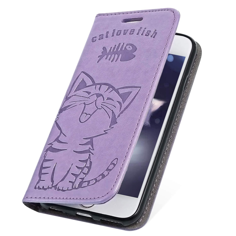 MoreChioce Coque Galaxy S8 Plus,Coque en Cuir pour Galaxy S8 Plus, Cute Poisson Chat Bleu Foncé Relief Housse à Rabat Étui de Protection Portefeuille à Magnétique pour Galaxy S8 Plus