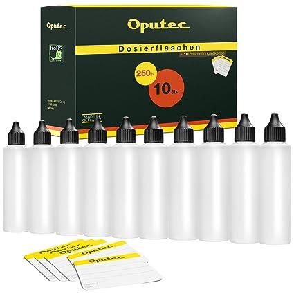 Botellas de plástico 10 x 250 ml Oputec con pipeta, para rellenar E-Liquids