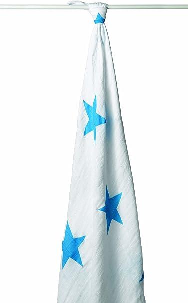 aden + anais 9009F - Muselina individual con estrella, 100% algodón, color blanco y azul: Amazon.es: Bebé