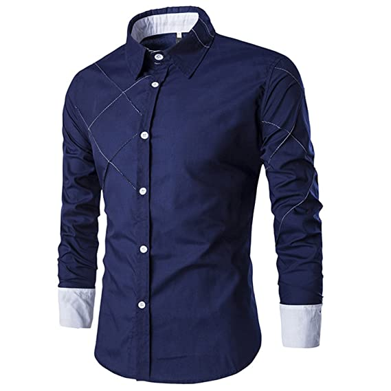 New Design Fashion Autumn Men Shirts Casual Turn-Down Collar Male Striped Shirt Long Sleeve Dress at Amazon Mens Clothing store: