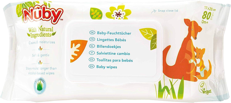 Nuby - Toallitas húmedas para bebé (2 paquetes de 80 unidades): Amazon.es: Salud y cuidado personal