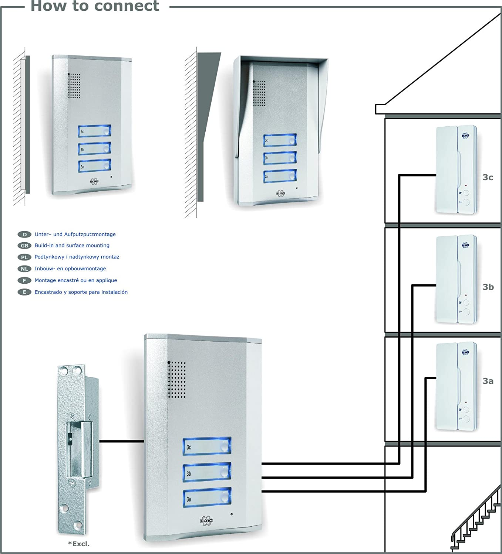 Elro Smartwares Ib63sw Sistema Intercomunicador De Puerta Para 3 Golmar Intercom Wiring Diagram Apartamentos Bricolaje Y Herramientas