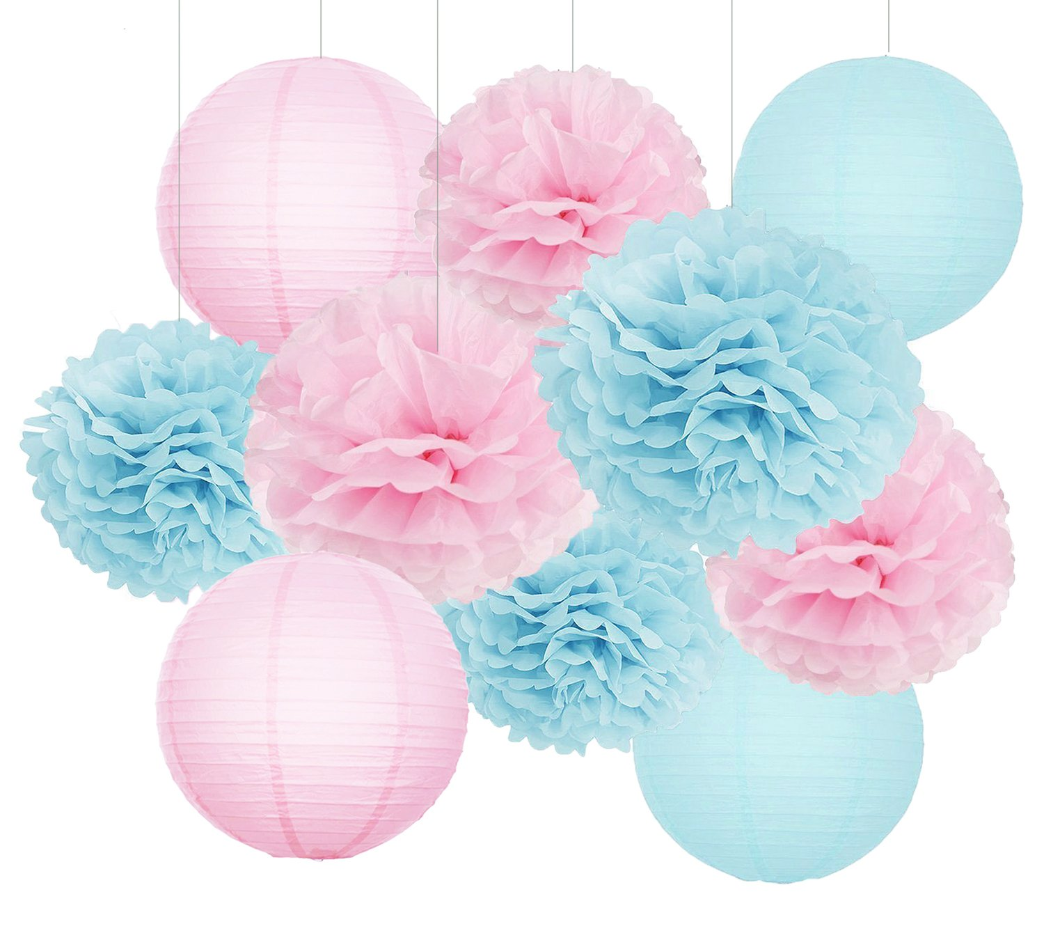 Gender Reveal Party Decorations Baby Shower Decorations Baby Blue Pink Tissue Paper Pom Pom Flowers Paper Lanterns for Birthday/Pink and Blue Decorations /Gender Reveal Decorations Furuix