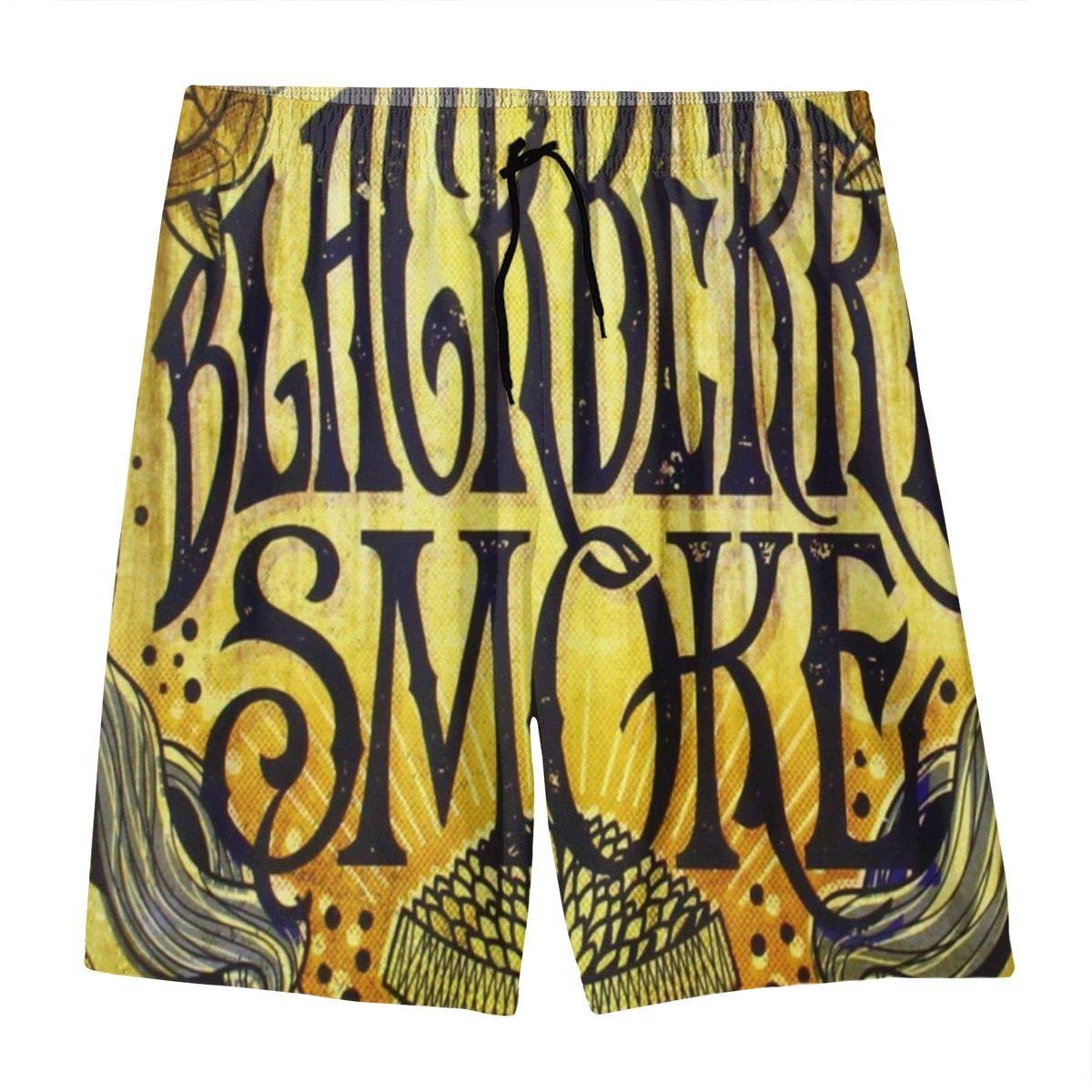 ElizabethLFlores BlackBerry Smoke Youth Beach Pants Fashion Drawstring Board Shorts