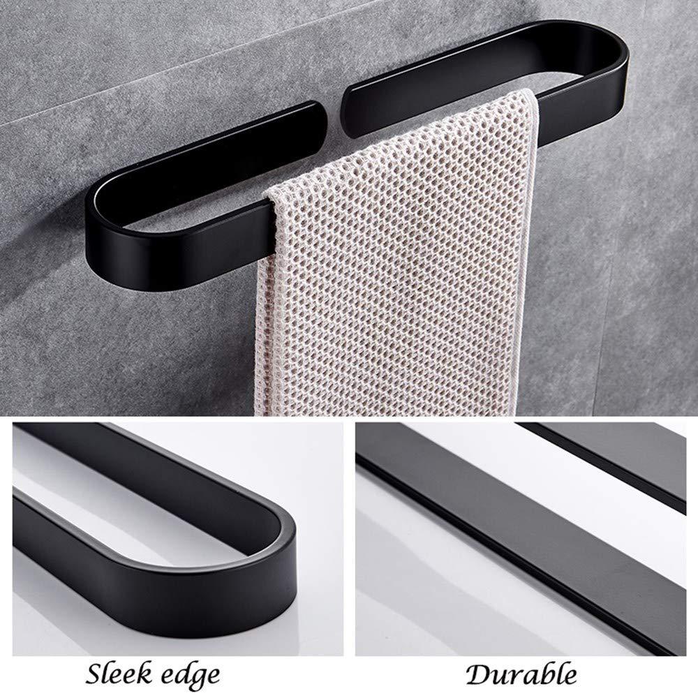 Sonrisa Toallero de Barra Ba/ño Adhesivo Aluminio Toalleros Negro con Autoadhesivo Toalleros para Ba/ño y Cocina 30 40 50 60cm