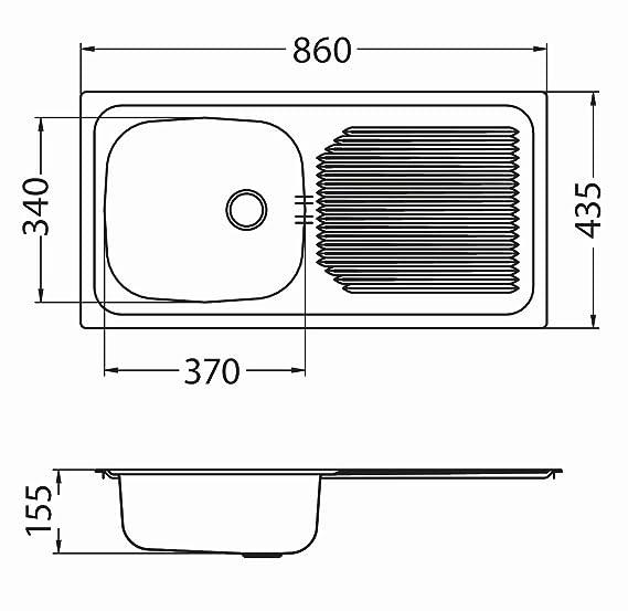 Alveus Einbauspüle Spülbecken Küchenspüle 860x435x145mm ...